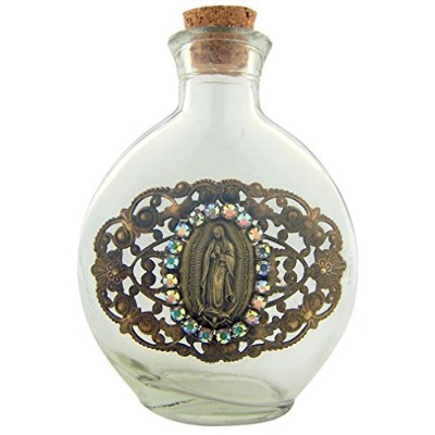 Our Lady of Guadalupe Vintage Medal on 6オンスガラスHoly Waterボトルコンテナ