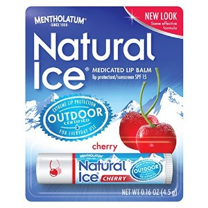 Mentholatum Natural Ice Lip Protectant SPF 15, Cherry Flavor, 0.16-Ounce Tubes (Pack of 12) by...