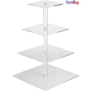 YestBuyテつョ 4 Tier Maypole Square Wedding Party Tree Tower Acrylic Cupcake Display Stand (18.9...