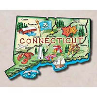 Connecticut the Constitution State Artwood Jumbo Fridge Magnet by Saddle Mountain Souvenir
