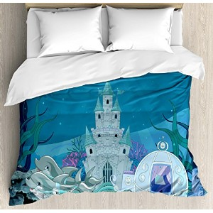Ocean布団カバーセットby Ambesonne、Fairytale Mermaid Castle with Dolphins Moss魚Sun Beamsアート印刷、装飾寝具セットwithピロー...