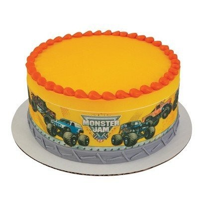 Monster Jam Built to Crush Edible Icing Image Cake Border Strips by Whimsical Practicality