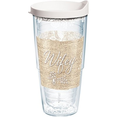 Tervis Wifeyラップタンブラーwithホワイト蓋、24オンス、クリア