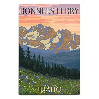 Bonnersフェリー、アイダホ – Bears And Spring Flowers 12 x 18 Metal Sign LANT-51006-12x18M