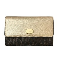 (マイケルコース)MICHAEL KORS 財布 長財布 LARGE PHONE CROSSBODY BAG 35H6MTTC7B BROWN PALE GOLD [並行輸入品]