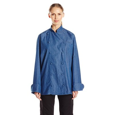 Uncommon Threads 0460C-1704 Sante Fe Chef Coat in Chambray - Lagre