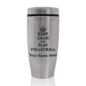 Commuter Travel Mug–Keep Calm and Play Volleyball–カスタマイズ彫刻含ま