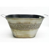 Willow Specialties LargeピューターToned Oval Tin Bucket withハンドル