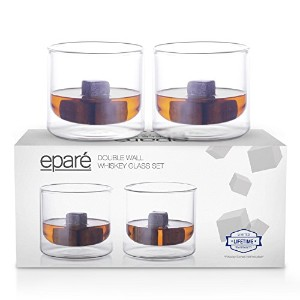 Eparテδゥ 9 oz Strong Double Wall Insulated Borosilicate Thermo Rocks Glass for Whiskey Scotch, Set...