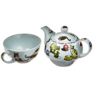 Cardew cat-tea Tea Set for One with 473mlポットと10オンスカップ