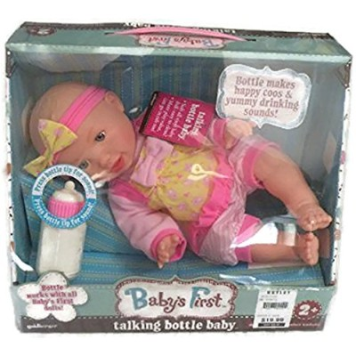 Baby's First Classic Baby with Talking Bottle styles/color vary by Goldberger Doll Mfg.