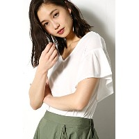 【AZUL BY MOUSSY】フリルスリーブ半袖プルオーバーS O/WHT