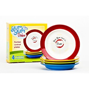 Yum Yum Dishes ™ 9plates are the ideal-sized部分制御Dinner Plates to Serve適切な部分とを防止する意識不明Overeating...