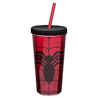 Zak 。Designs Double Wall Tumbler with Straw and Spidermanグラフィックス、473ml