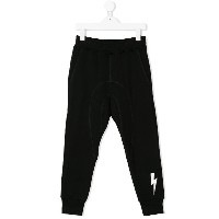 Neil Barrett Kids lightning bolt track pants - ブラック