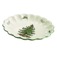 Spode Christmas Tree Oval Fluted Dish by Spode