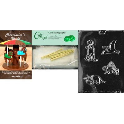 """Cybrtrayd """" 4つ恐竜""""動物チョコレート型Chocolatierのバンドル、Includes 25Cello Bags and 25ゴールドツイストTies"""