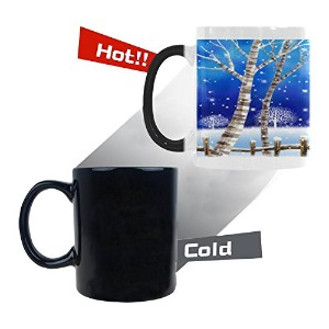interestprintクリスマスEve Snowy Trees Forest with Snowflake Flying Over The Blue Sky旅行水コーヒーマグTea Cup...