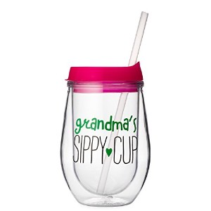 Grandma 's Sippy Cup–10oz Stemlessアクリル二重壁断熱ワインガラス蓋、ストロー–完璧なクリスマスギフト、誕生日ギフト、Thank Youギフトのおばあちゃん...