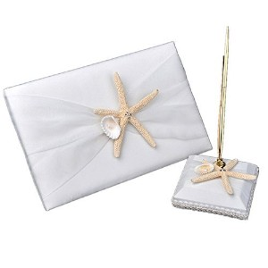 Meiysh Ivory Beach Themed Guest Book and Pen Set with Sea Star and Seashell Wedding Decorations by...