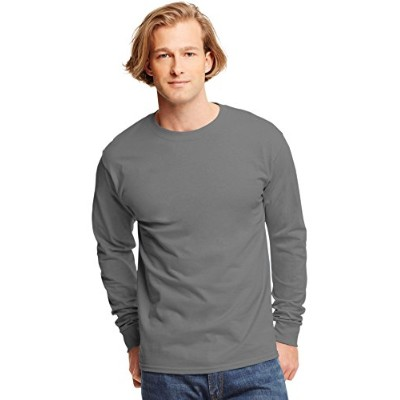 Hanes 5586 Tagless Long-Sleeve T-Shirt Size 2 Extra Large, Smoke Gray