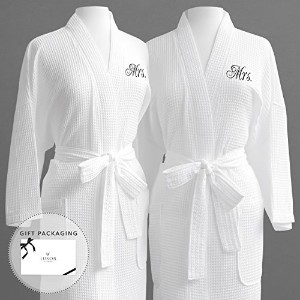 Luxor Linens Egyptian Cotton Waffle Weave Robe with Women's Couple's Embroidery - Perfect Gay...