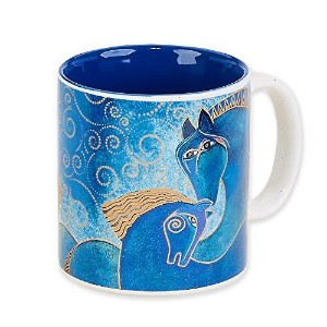 Laurel Burch Artistic Collection 14-ounce Mug, Teal Mares by Laurel Burch