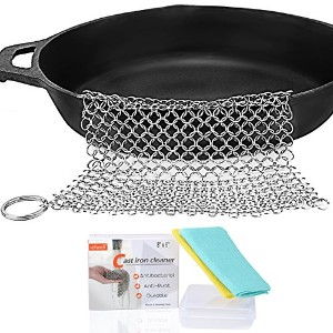 Cast Iron Cleaner–iefwellステンレスCast Iron Scrubber ,ステンレススチールChainmail Scrubber Cast IronスキレットCleane...