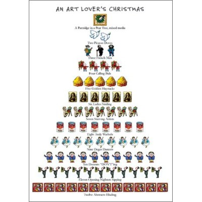 Art Lover's Christmas - Box of 15 Holiday Cards and Envelopes - 12 Days of Christmas Series by Allport Editions