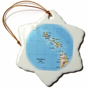 3dローズFlorene飾りII – Map of Hawaiian Islands – Ornaments 3 inch Snowflake Porcelain Ornament orn...