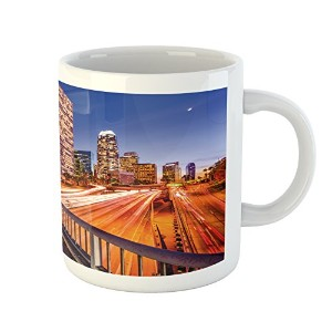 Night Mug by Ambesonne、USA Downtown City Skyline over the highway Los Angeles California旅行先...