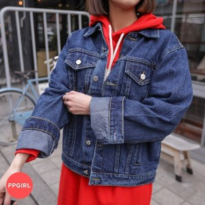 送料 0円★PPGIRL_B586 Basic fit denim jacket / casual jacket / denim jumper / outer / denim outer