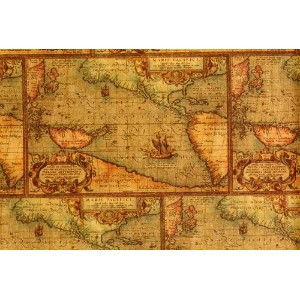 Antique Map Gift Wrap 2' x 8' by Paper Mart
