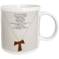3dローズ777images Designs Christian – The Prayer of Saint Francis on a Cremeベージュ背景with aシンプル木製Tau...