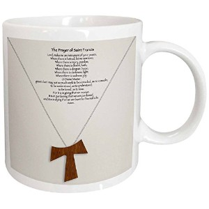 3dローズ777images Designs Christian–The Prayer of Saint Francis on a Cremeベージュ背景with aシンプル木製Tau...