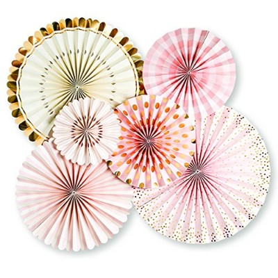 My Mind's Eye Paperlove, Pink, White, Gold Double-Sided Party Fans and Confetti, Set of 6 Fans + 1...