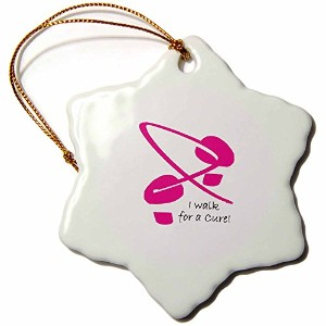 3drose Yves Creations Breast Cancer Awareness–Breast Cancer Awareness Footprints I–Ornaments 3...