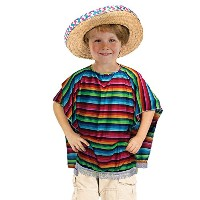 Mexican Poncho. (Childrens Costumes) Unisex One Size - Rainbow
