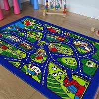 子供のブルー再生村City道路マップTrain Tracks Cars Play Mat fun119.90 8 Feet X 10 Feet