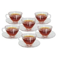 Teacup and Saucer SetコーヒークリアガラスCup and Saucer set-12Piece