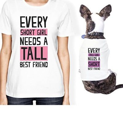 Tall Short Friend Small Dog Owner Matching Apparel Gift White Tees