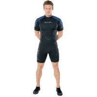 Henderson Man 3 mm Thermoprene Shorty ( Back Zip ) Scuba Diving wetsuit-black / blue-4 X Large by...