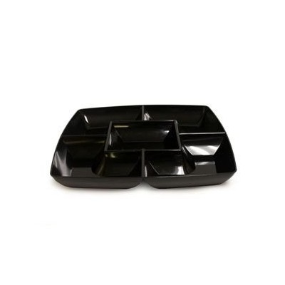 Black Square Plastic Compartment Serving Tray 12-inch by Maryland Plastics