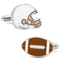 Ox and Bull Trading Co。Varsity Football BurntオレンジとホワイトCufflinks