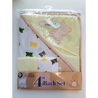 Rene Rofe Baby Bon Bebe 4 Pc Bath Set Bath Super Soft Terry Blanket & 3 Washcloths (Yellow/White)...