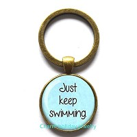 Just Keep Swimming–Keychain–Swimmingジュエリー–Motivational–Encouragementキーチェーン–Gift for...