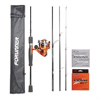lonpar forunnerグラファイト4Pieces Spinningロッドとリールコンボ、旅行ポータブルSpinning Rod with Spinning Reel、海水淡水釣り...