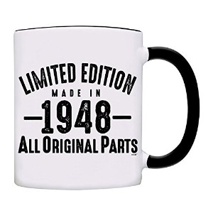 owndis 70誕生日ギフトLimited Edition Made in 1947All Original Partsコーヒーマグ 11オンス ブラック 0070-2