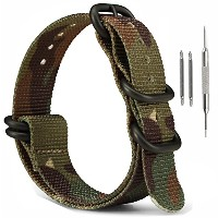 MilitaryナイロンZulu時計ストラップ、ownitow 20mm 22mm 24mm陸軍グリーン手首腕時計バンドwithスプリングバーfor Men and Women 22mm