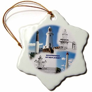 3dローズSandy Mertens新しいJersey – 灯台on New Jersey – Ornaments 3 inch Snowflake Porcelain Ornament orn...